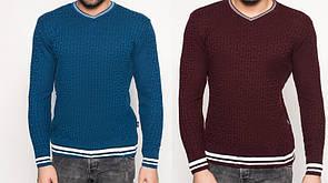 """Легкий мужской свитер """"Назарий"""" - РАСПРОДАЖА мужских свитеров - М джинс, Л светло-бежевый"""