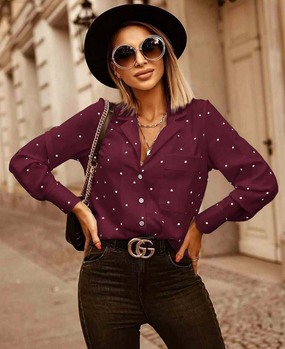 """Женская блузка до больших размеров 41538 """"Софт Горошек Рубашка"""" в расцветках"""