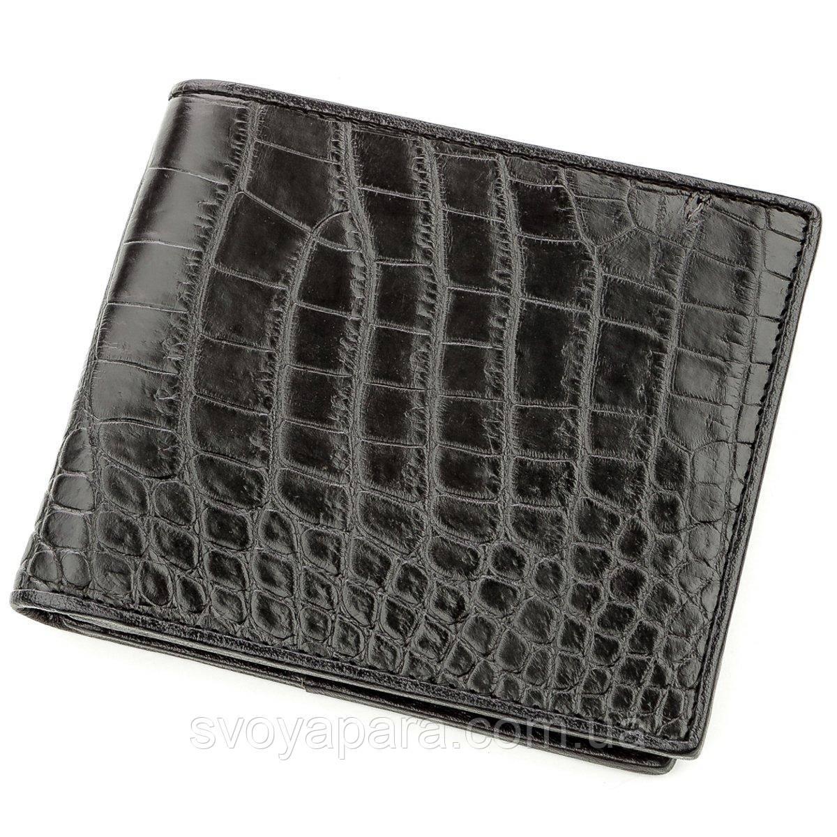 Бумажник мужской CROCODILE LEATHER 18578 из натуральной кожи крокодила Черный