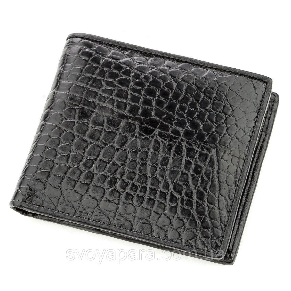 Бумажник мужской CROCODILE LEATHER 18584 из натуральной кожи крокодила Черный