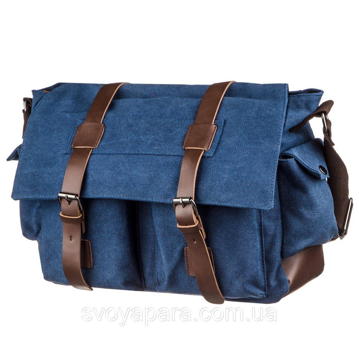 Сумка на плече текстильна Vintage 20148 Синя