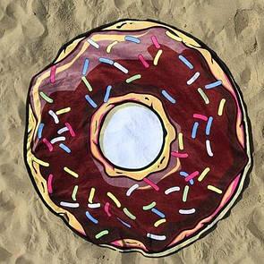 """Пляжное покрывало круглое """"Шоколадный пончик"""". Красивая пляжная подстилка коврик пончик шоколадный"""
