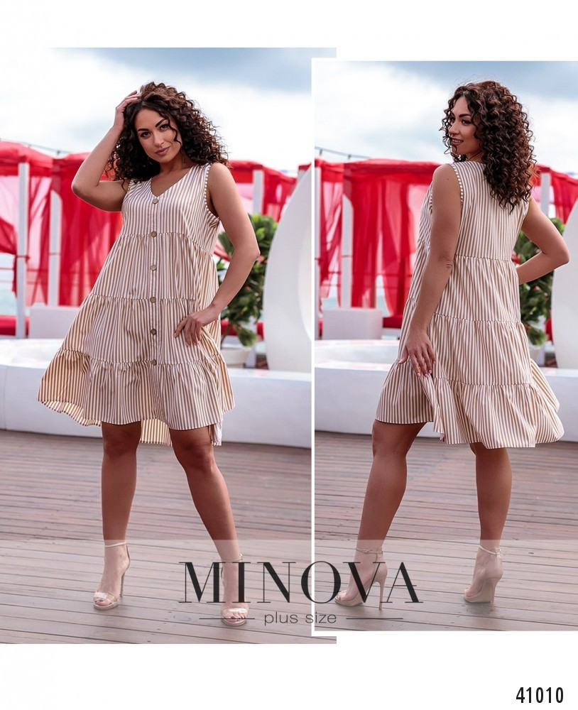 Платье женское батал №522А-бежева-смужка| 58-60