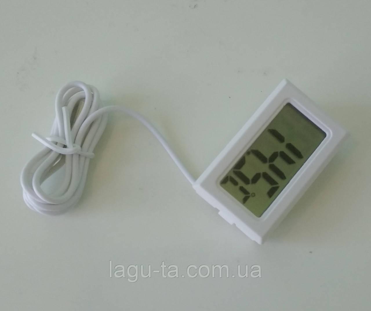 Термометр с выносным датчиком 1 метр, встраиваемый, белый.