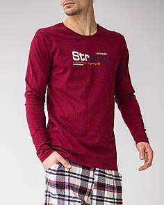 Теплая и удобная мужская пижама со штанами в клетку