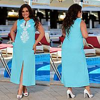 """Стильное летнее женское льняное платье без рукава больших размеров """"Трина"""" размеры 50-52, 54-56"""