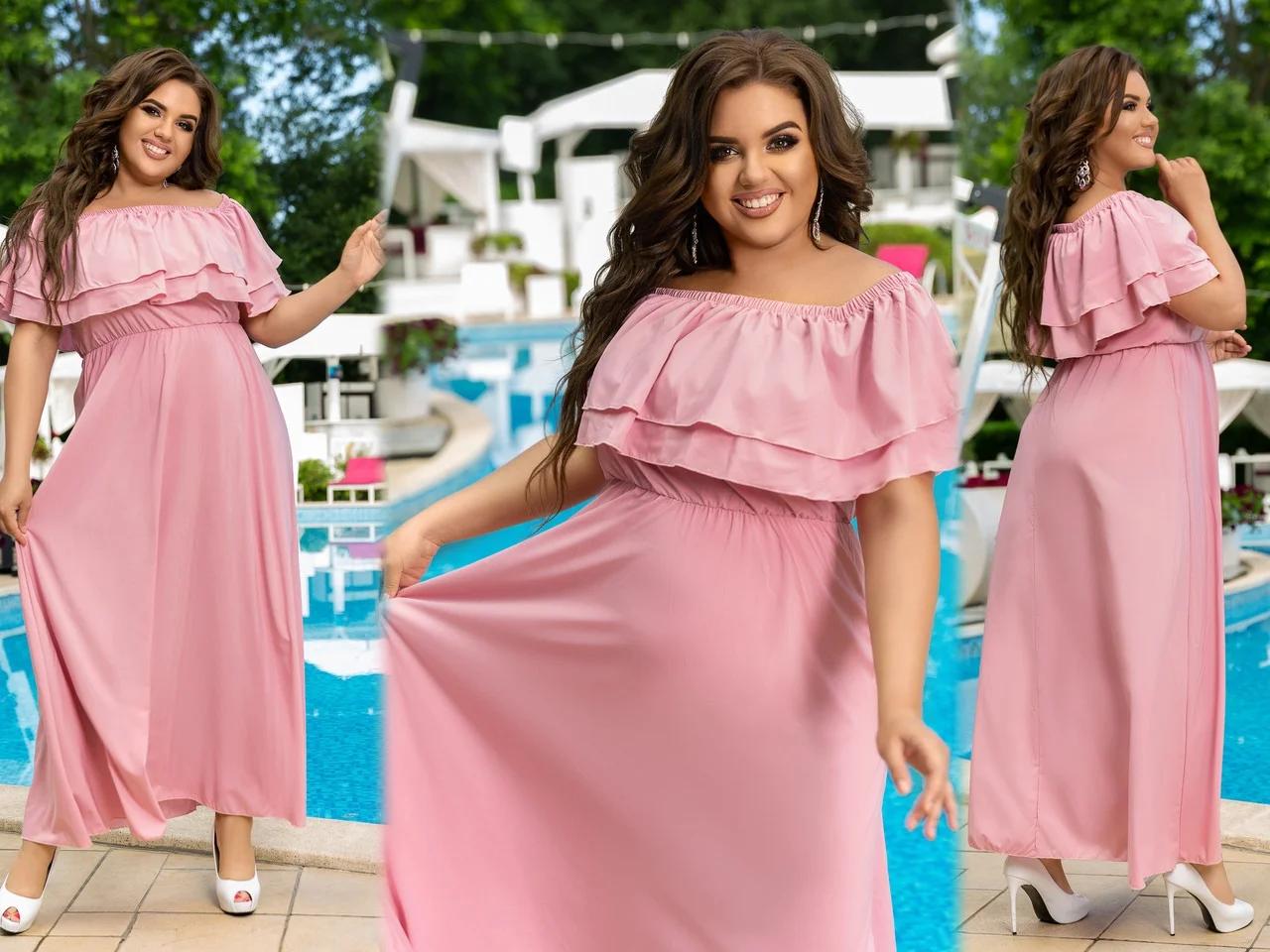 """Очень модное женское длинное платье с накидкой больших размеров """"Уна"""""""