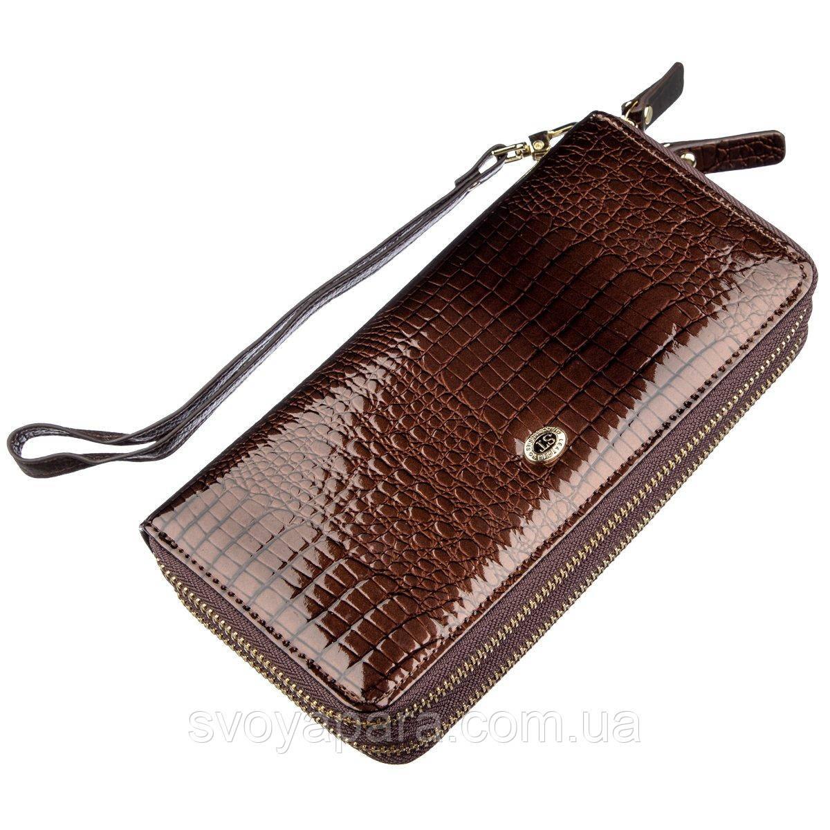 Жіночий лаковий клатч ST Leather 18908 Коричневий