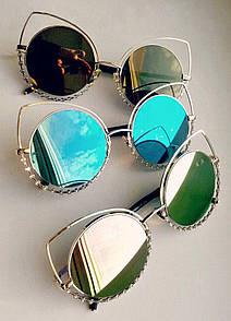 """Жіночі сонцезахисні окуляри дзеркальні з камінчиками """"Кішечки"""""""