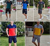 Мужской спортивный летний легкий костюм шорты+ футболка поло, размеры: 48,50,52,54 (много цветов)