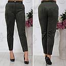 """Женские укороченные деловые велюровые брюки больших размеров """"Kristin"""", фото 2"""