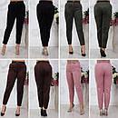 """Женские укороченные деловые велюровые брюки больших размеров """"Kristin"""", фото 4"""