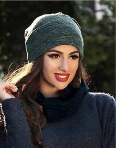 Стильная женская шапка ангоровая Lusy - черный, серый, синий, бордо, бутылка, пудра, размер универсальный