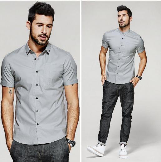 """Шикарная и стильная серая мужская рубашка """"Оттава"""""""