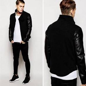 """Класна чоловіча куртка з рукавами з кожзама """"Кеймбрідж"""""""