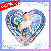 Детский Игровой Надувной Водный Коврик в форме Сердца Центр для водных игр Развивающий с рыбками AIR PRO