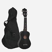 Укулеле черная + чехол + медиатор + струна (Гавайская гитара) HM100-GB (mrk6898)