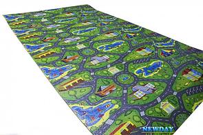 Игровой детский коврик для малышей 2000х1100х8мм «Городок», развивающий игровой коврик для детей