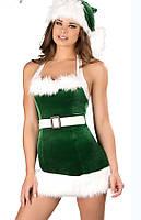 Сексуальное платье Снегурочка в шапке №217, цвет зеленый