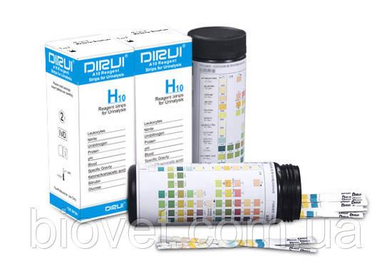 Тест полоски для анализа мочи Dirui H-10, уп.100 шт., фото 1