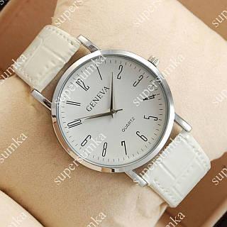 Стильные наручные часы Geneva White/Silver/White 1050