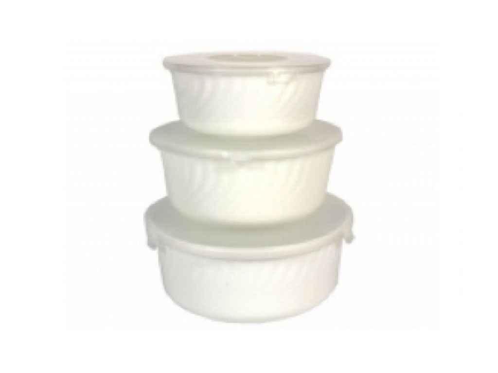 "Набор салатников (3 штуки) White с крышками HMW-3T ""LUMINES"""