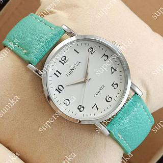 Стильные наручные часы Geneva Turquoise/Silver/White 1054