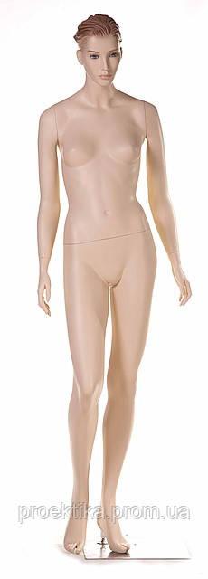 Манекен женский телесный реалистичный (квадр. база, фикс. в ногу)
