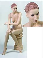 Манекен женский телесный реалистичный сидячий
