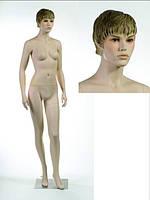 Манекен женский телесный реалистичный (квадр. база)