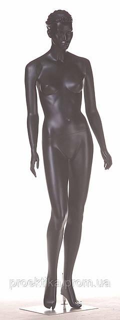 Манекен женский черный реалистичный (квадр. база, фикс. в ногу)