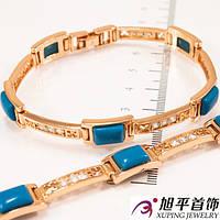 Браслет позолота с синими камнями (бирюза) 17 см