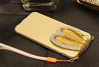 Золотой силиконовый зайчик складный уши со стразами для iPhone 6