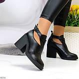 Черные модельные женские ботинки ботильоны натуральная кожа на устойчивом каблуке 40-26см, фото 4