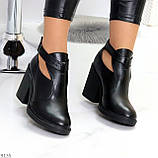 Черные модельные женские ботинки ботильоны натуральная кожа на устойчивом каблуке 40-26см, фото 5