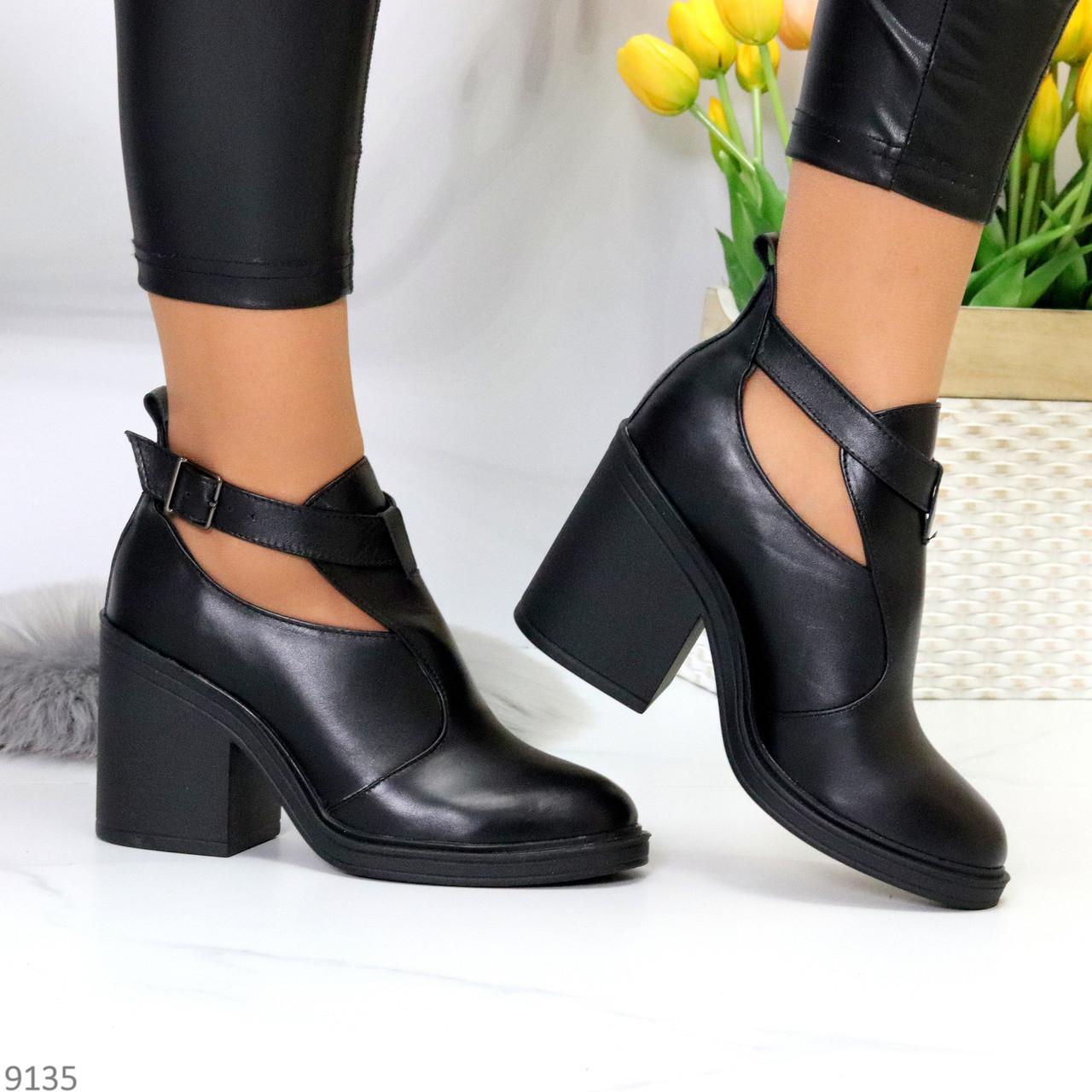 Черные модельные женские ботинки ботильоны натуральная кожа на устойчивом каблуке 40-26см