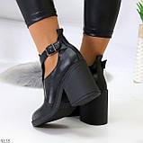 Черные модельные женские ботинки ботильоны натуральная кожа на устойчивом каблуке 40-26см, фото 6