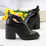 Черные модельные женские ботинки ботильоны натуральная кожа на устойчивом каблуке 40-26см, фото 7