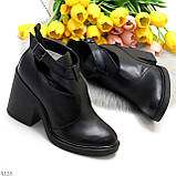 Черные модельные женские ботинки ботильоны натуральная кожа на устойчивом каблуке 40-26см, фото 9