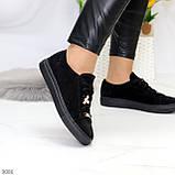 Крутые молодежные черные женские кеды натуральная замша с декором на шнуровке, фото 2