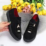 Крутые молодежные черные женские кеды натуральная замша с декором на шнуровке, фото 6