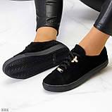 Крутые молодежные черные женские кеды натуральная замша с декором на шнуровке, фото 7