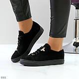 Крутые молодежные черные женские кеды натуральная замша с декором на шнуровке, фото 8