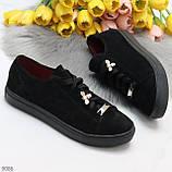 Крутые молодежные черные женские кеды натуральная замша с декором на шнуровке, фото 9
