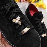 Крутые молодежные черные женские кеды натуральная замша с декором на шнуровке, фото 10