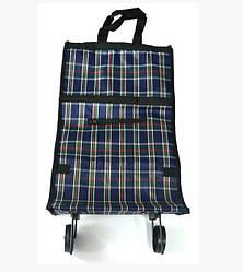 Складная хозяйственная сумка клатч на колесиках Xiamen темная клетка