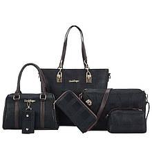Женская сумка 6в1, экокожа PU (чёрный)