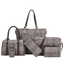 Женская сумка 6в1, экокожа PU (серый)