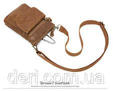 Сумка через плечо мужская Vintage 14899 Серо-коричневая, Коричневый, фото 3