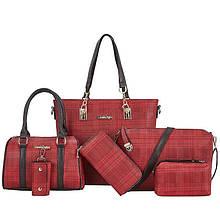 Женская сумка 6в1, экокожа PU (красный)